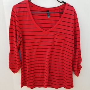 Woman's Plus Size V Neck Striped Red Shirt